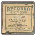 Toccata, Played by Lucille Manker on a Recordo roll.  $4.50 plus S/H