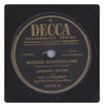 Winter Wonderland / Christmas Island by Andrews Sisters on Decca.  $3.50 plus S/H